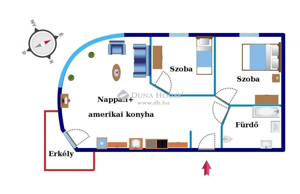 Eladó Lakás, Budapest - Angyalföldön újszerű házban nappali+két hálószoba